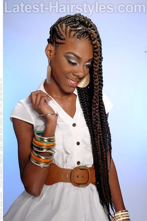 Long Cornrow Hairstyle with a Hint of Color  Braid Love