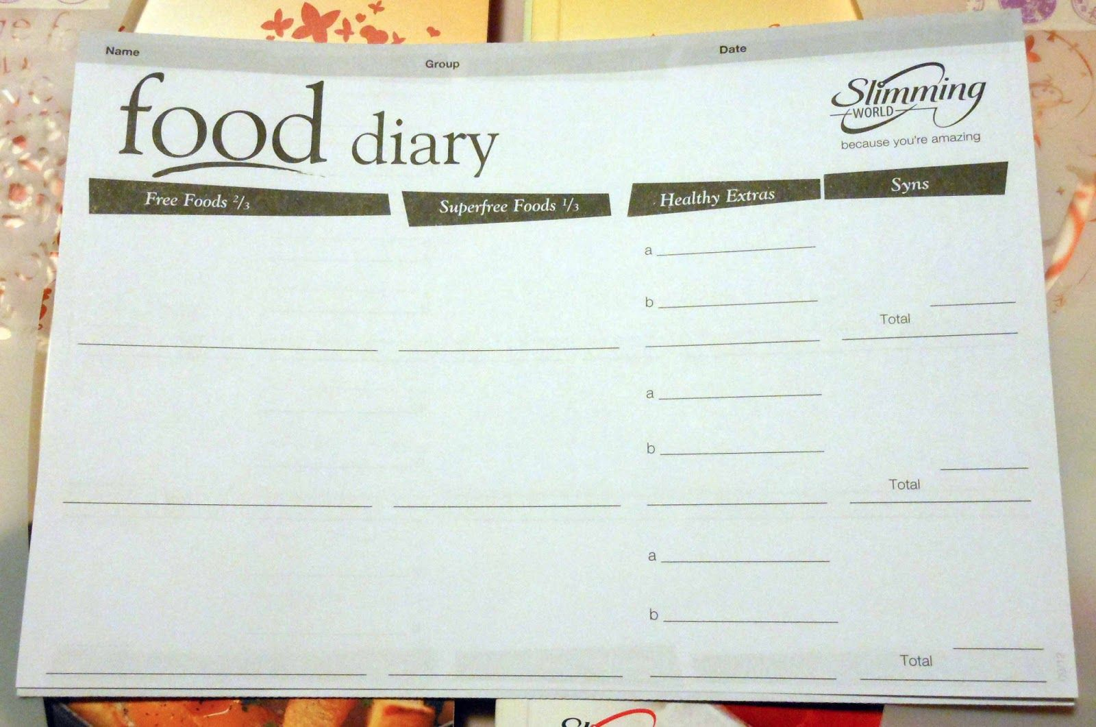 Image result for slimming world diary sheets