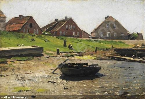 DÜCKER Eugen (Eugène) Gustave,Sommertag vor einem Dorf an der estnischen Küste