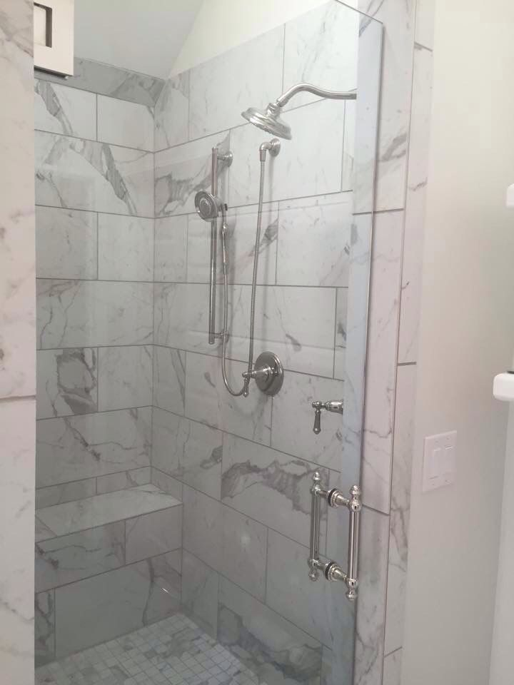 12 X24 Marble Tile Shower With Bench Urbantile Com Marble Shower Walls Marble Shower Tile Grey Marble Bathroom Tiles