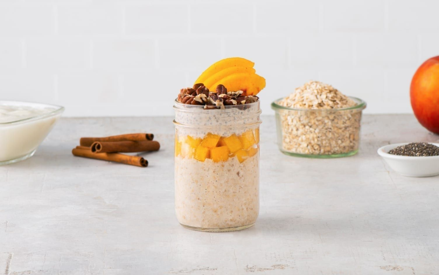 ChiaPeach Overnight Oats in 2020 Peach overnight oats