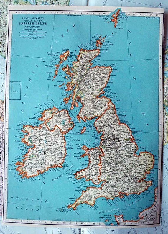 1937 Antique Map Of The British Isles Or Great Britain Products In