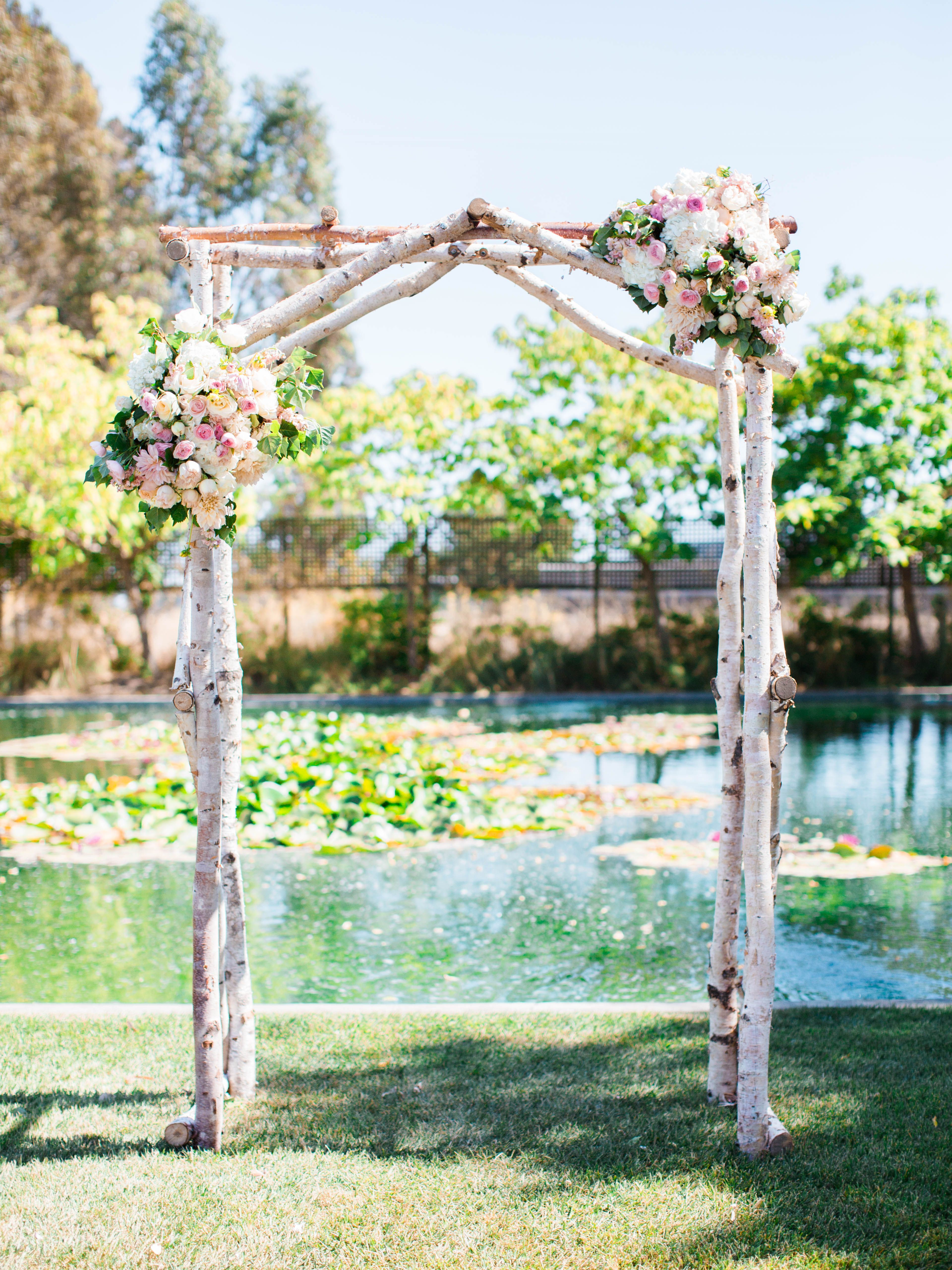 Birch arch rental from cornerstone for Arbor wedding decoration ideas