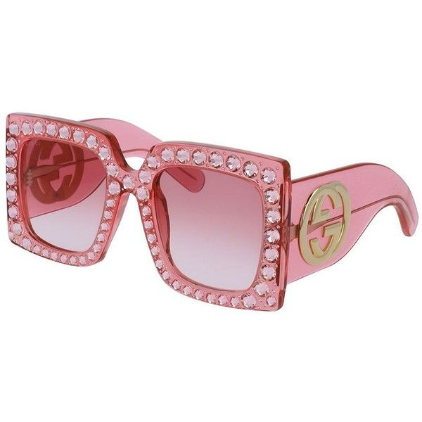 dd72985aae Gucci 57MM Crystal-Trim Oversized Square Sunglasses (2 077 865 LBP) ❤ liked  on Polyvore featuring accessories