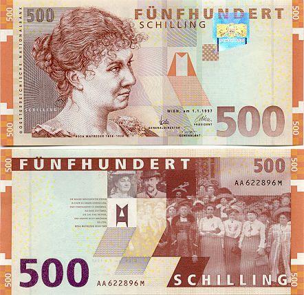 Austrian Schilling Euroaustria Banknotes Money Money Collection Bank Notes