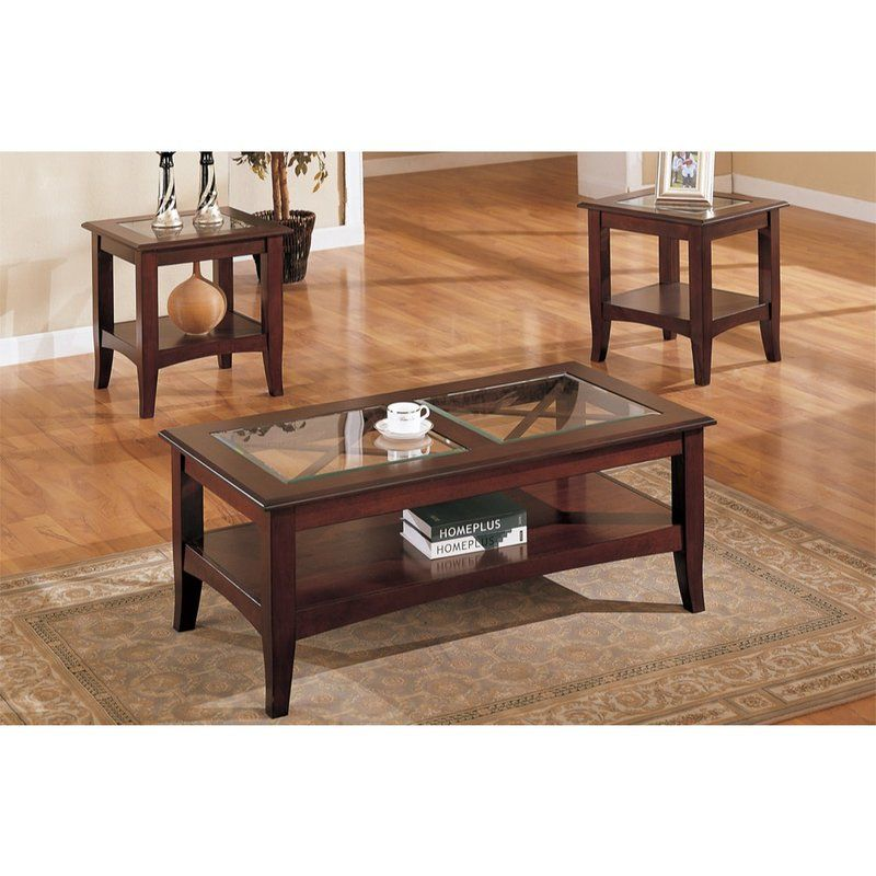 Holte Wooden 3 Piece Coffee Table Set Glass Wood Coffee Table 3