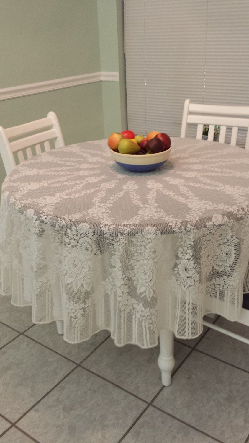 Romantic Vintage  Lace Ecru Tablecloth ~ 70 inch round by TeresaScholleDesigns on Etsy