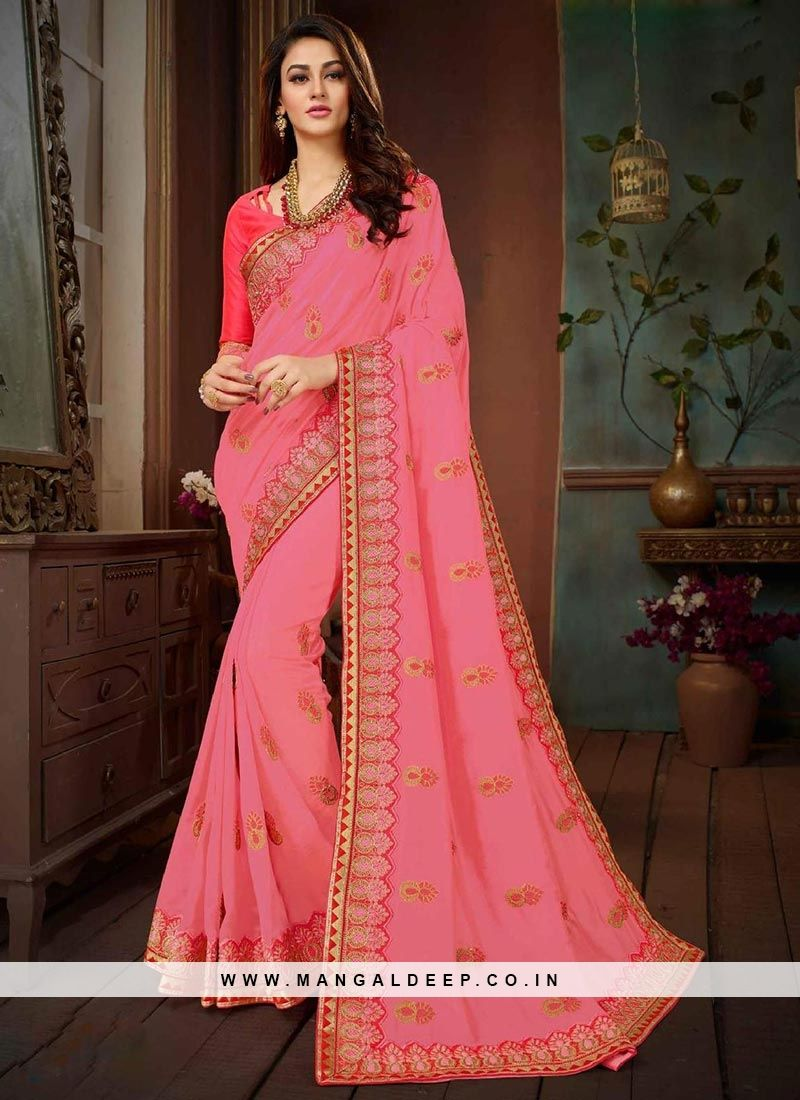 d445ea1f47830 Graceful Pink Color Function Wear Designer Saree  pink  saree  sariblouse