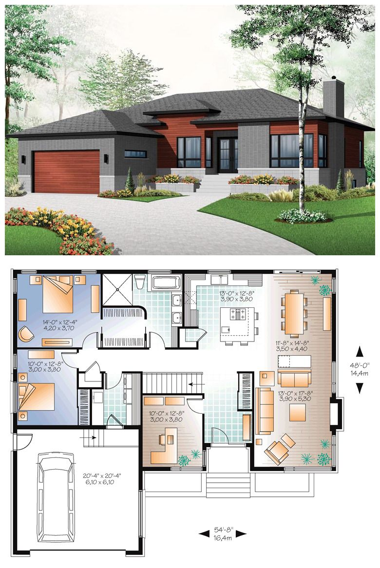 Small House With Modern Simple Lines 1676 Total Living Area 3 Bedrooms 1 Full Bath Modern Style House Plans Family House Plans Bungalow House Plans