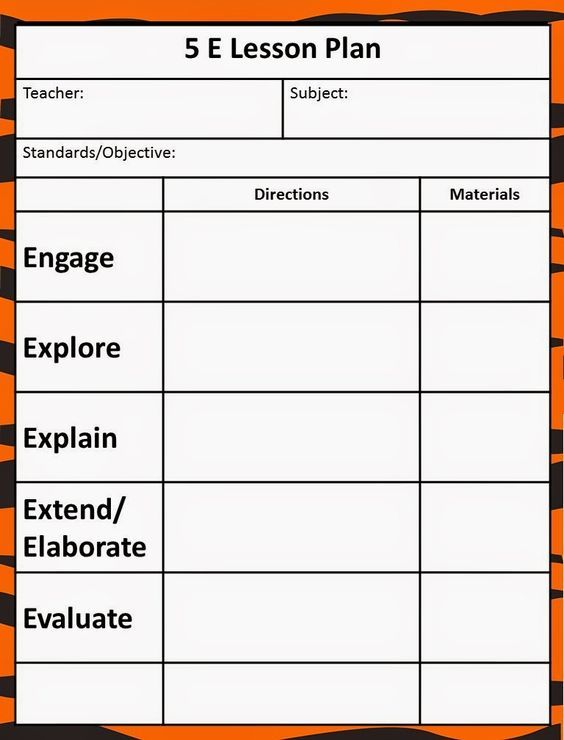 The 5E Model - Our New Lesson Plans 5E Science Lessons - math lesson plan template
