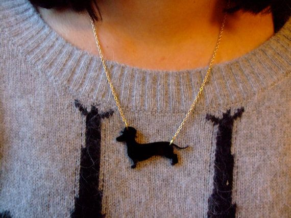 Dachshund With Bowler Hat Laser Cut Necklace Med 15 By Tradingtons