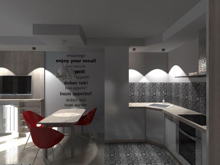 Salon Z Aneksem Kuchennym 22 M Kw Myhome Kuchnia Nowoczesny Modern Bathtub Bathroom