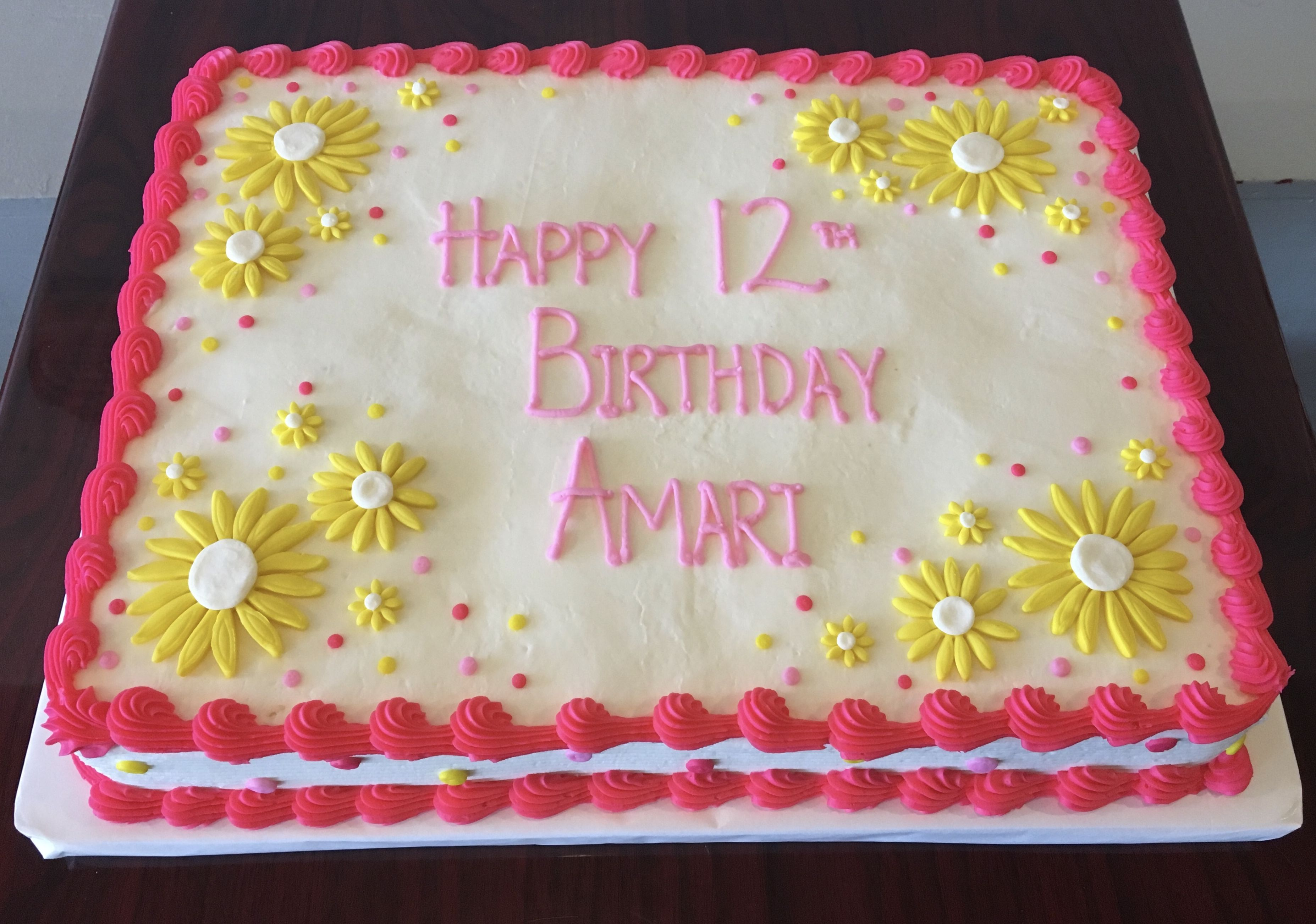 Marvelous Pink And Yellow Birthday Sheet Cake Adrienne Co Bakery With Funny Birthday Cards Online Ioscodamsfinfo
