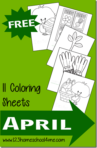 free spring coloring sheets for toddler and preschoolers in april