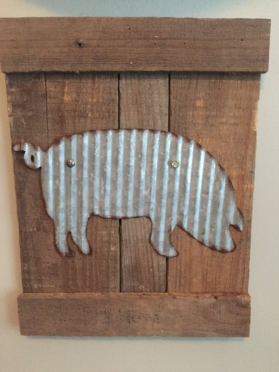Farmhouse Farm Animal Sign Galavinzed Metal Pig Sign Metal Etsy Pig Wall Art Pet Signs Farm Animals