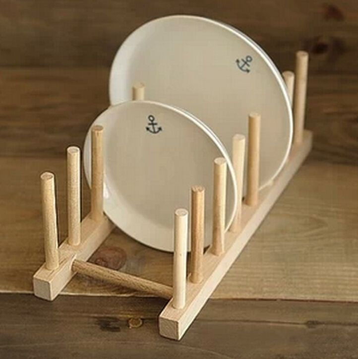 Kitchen Dish Plate Rack Holder Stand Wooden Wood Plates Drying Storage Shelf S #New & Kitchen Dish Plate Rack Holder Stand Wooden Wood Plates Drying ...