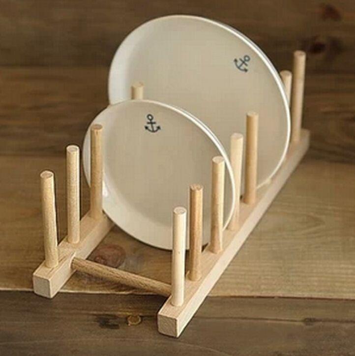 Beautiful Kitchen Dish Plate Rack Holder Stand Wooden Wood Plates Drying Storage  Shelf S