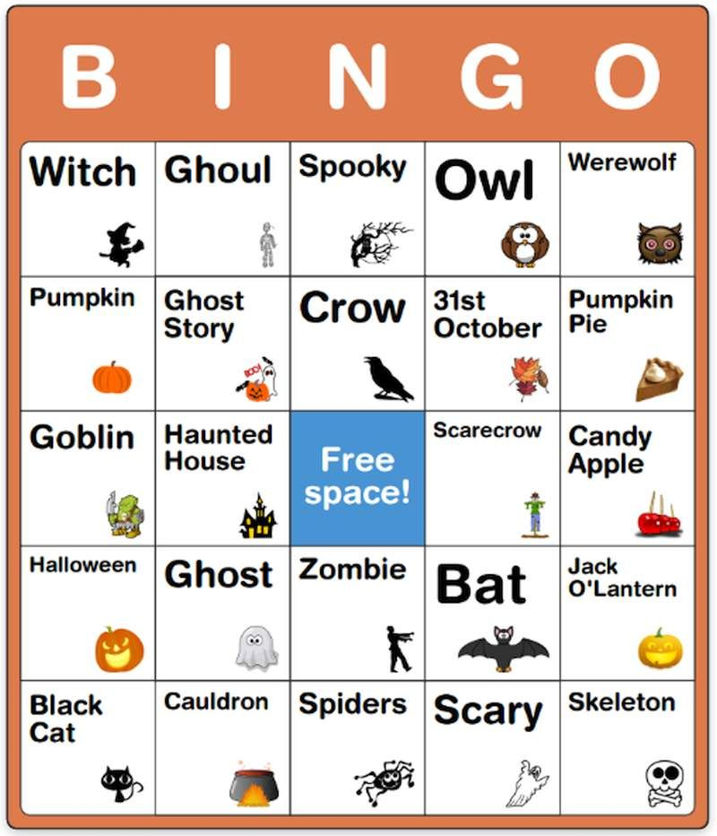 halloween bingo card for kids - Preschool Halloween Bingo
