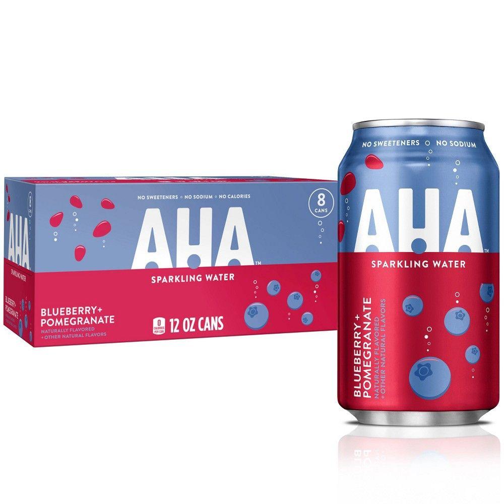 Aha Blueberry Pomegranate Sparkling Water 8pk 12 Fl Oz Cans In 2020 Flavored Sparkling Water Sparkling Water Pomegranate