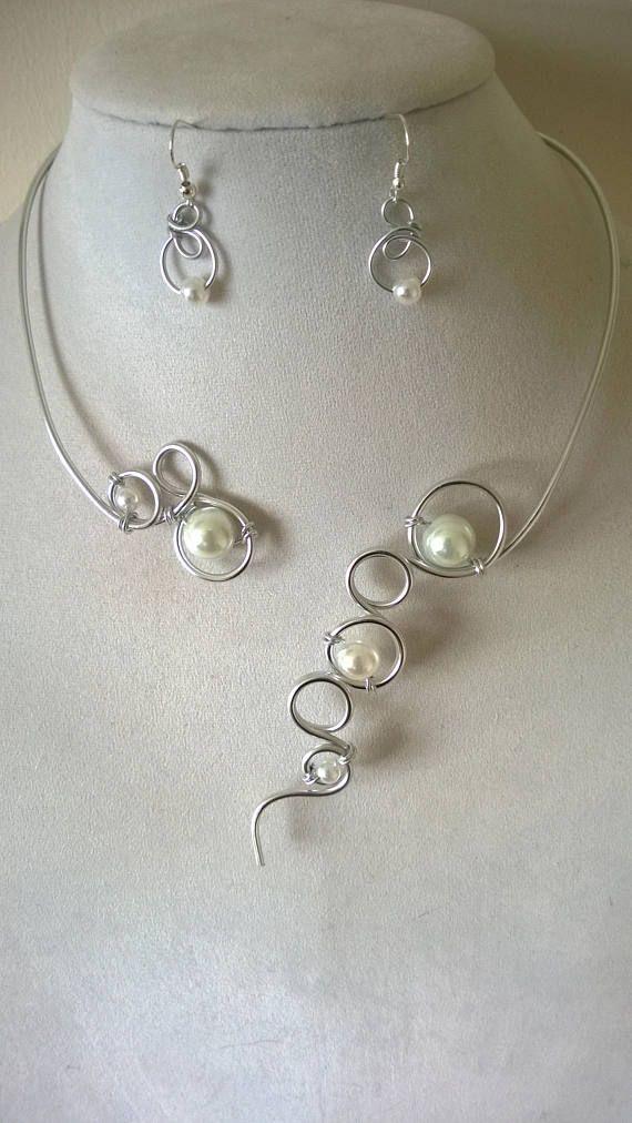 White Wedding jewelry set Wedding aluminium wire jewelry | Wedding ...