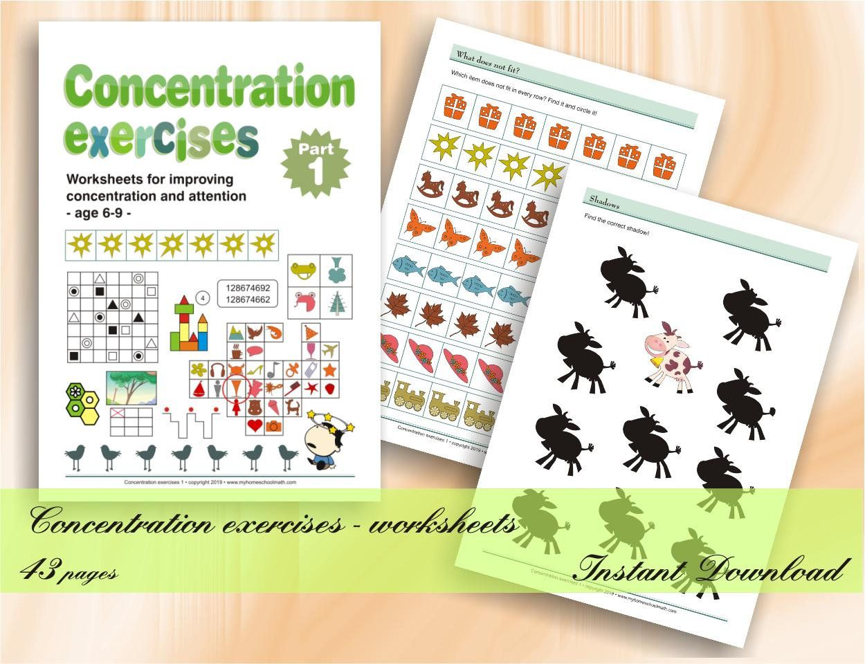 Concentration Exercises For Kids Part 1 Age 6 9 43 Printable Worksheets With Solutions Download Digital Printable Workbook Exercise For Kids Printable Worksheets Free Printable Activities [ 960 x 1250 Pixel ]