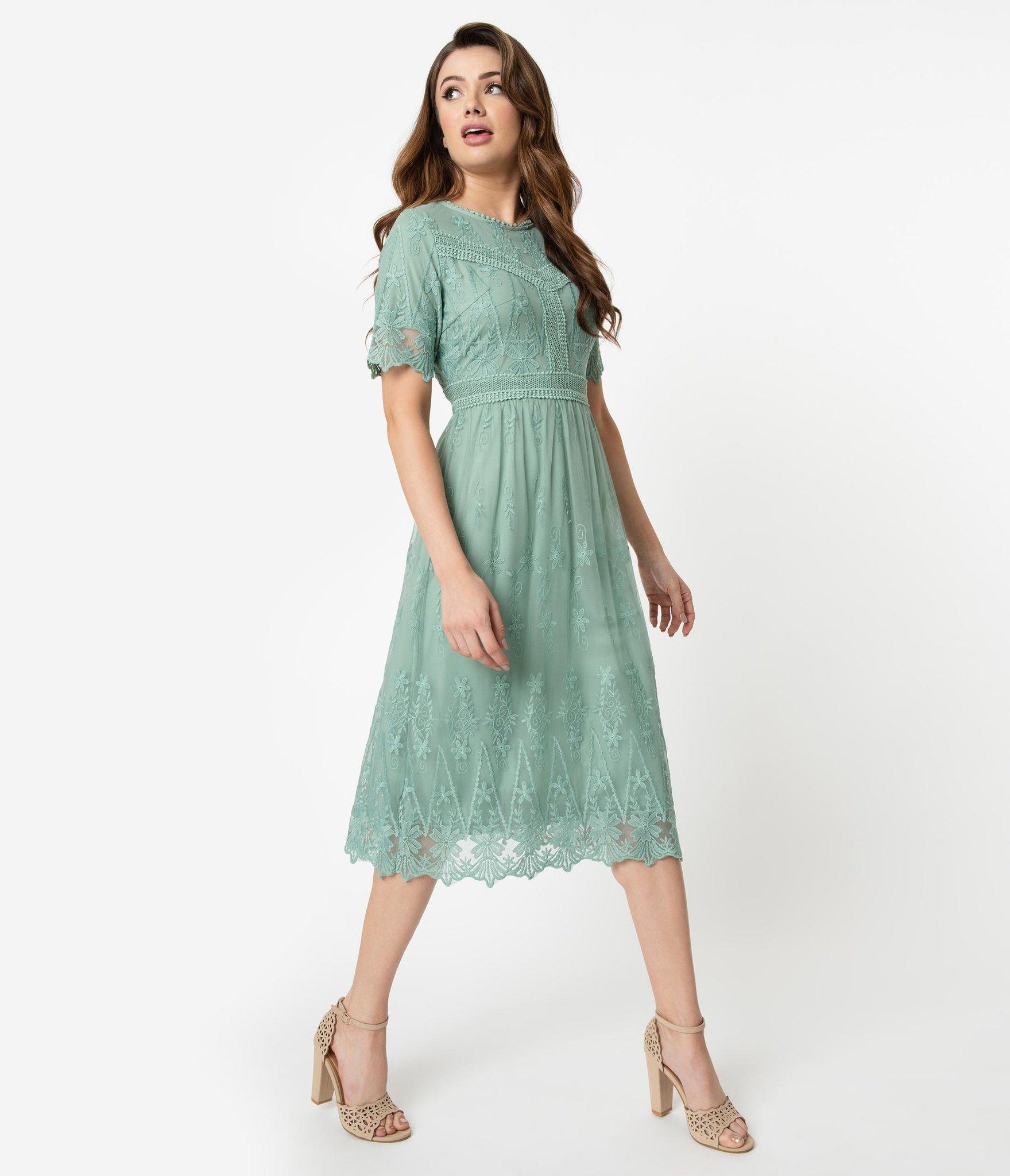 Vintage Style Sage Green Embroidered Mesh Midi Dress #sagegreendress