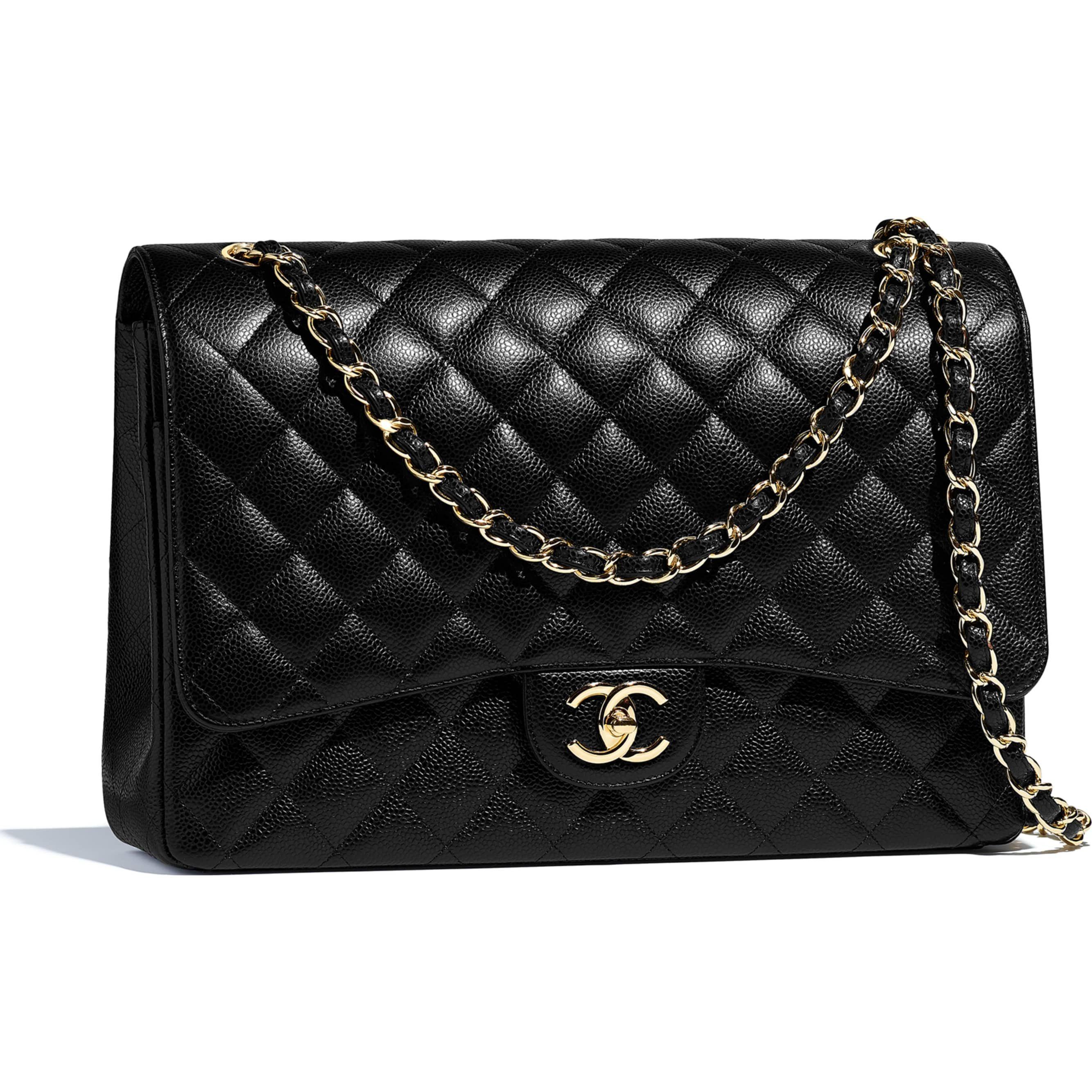 c7927acb4412 CHANEL Maxi Classic Handbag Grained Calfskin   Gold-Tone Metal Ref. A58601  Y01864 C3906