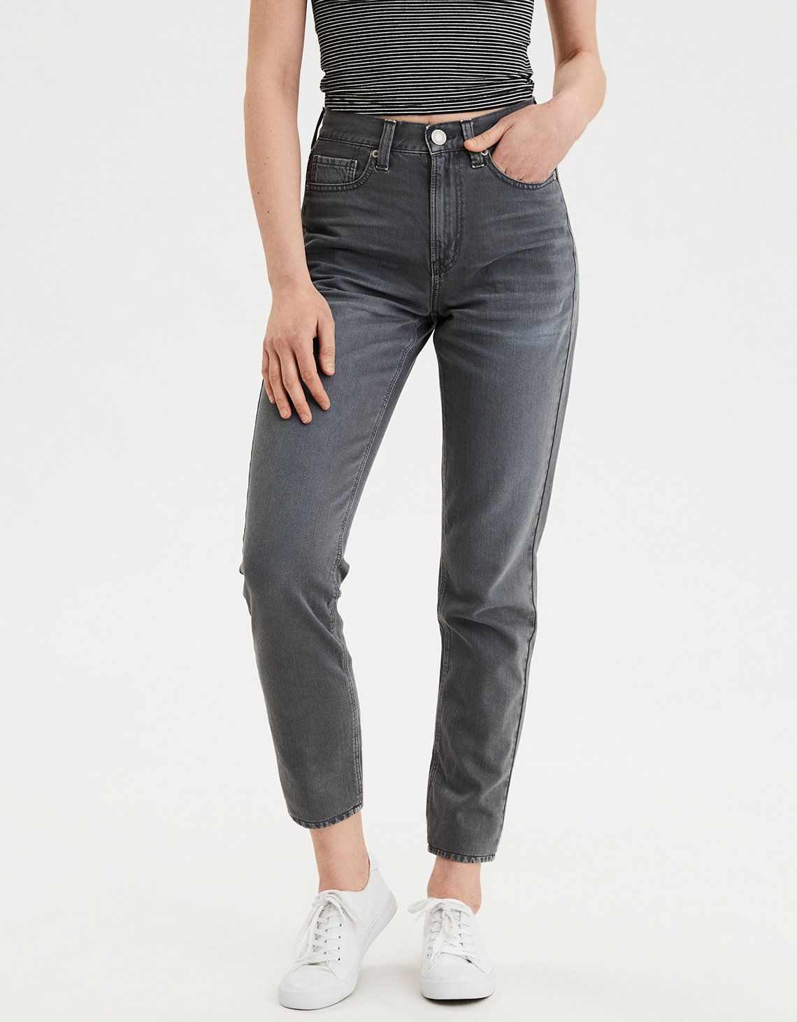 cb9a50a57c7e6 Mom Jean, Smoked Gray | American Eagle Outfitters | LUST in 2019 ...