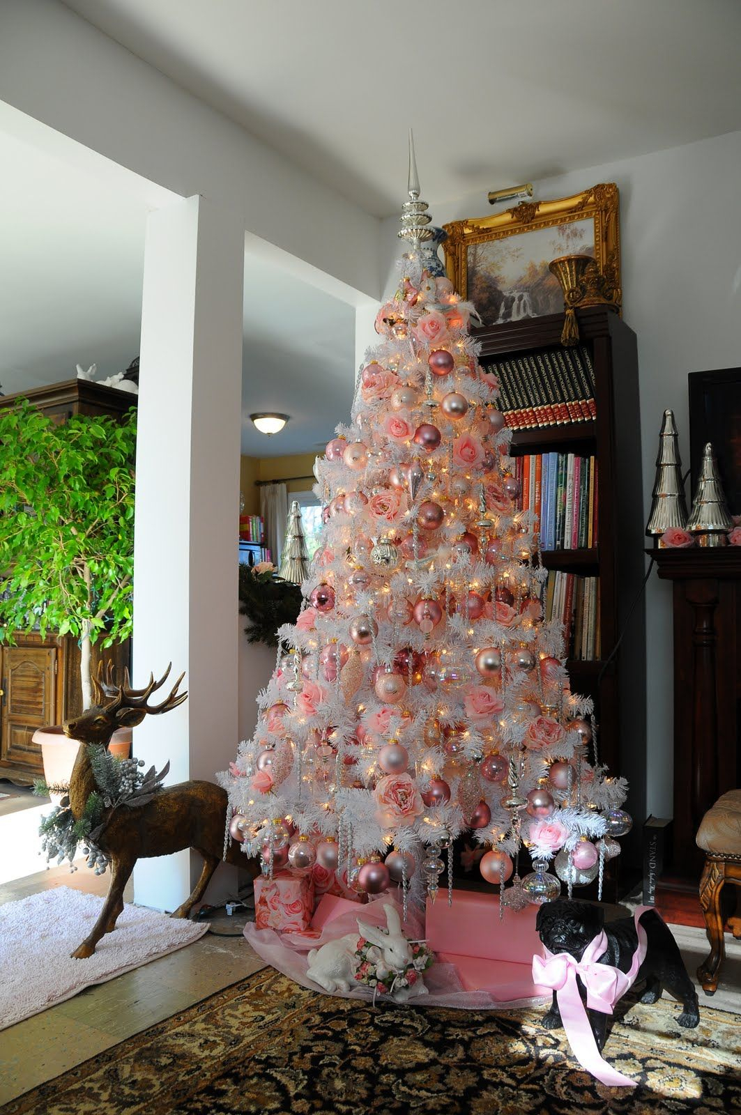 sweet designs white christmas tree with pink gold and silver - Pink And Gold Christmas Decorations