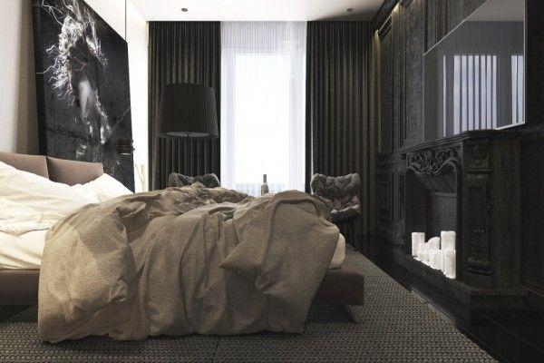 Dark neutral themed interiors ideas inspiration fireplace