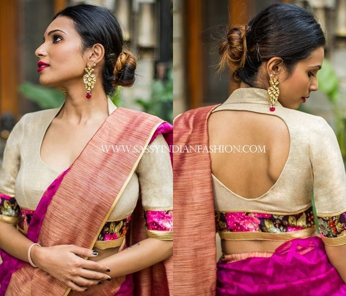 269b23f3d2aecd 13 New Blouse Back Neck Designs For Pattu Sarees
