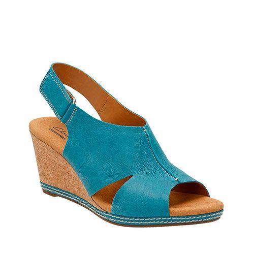 Clarks Helio Float 4 Wedge Sandals - Blue