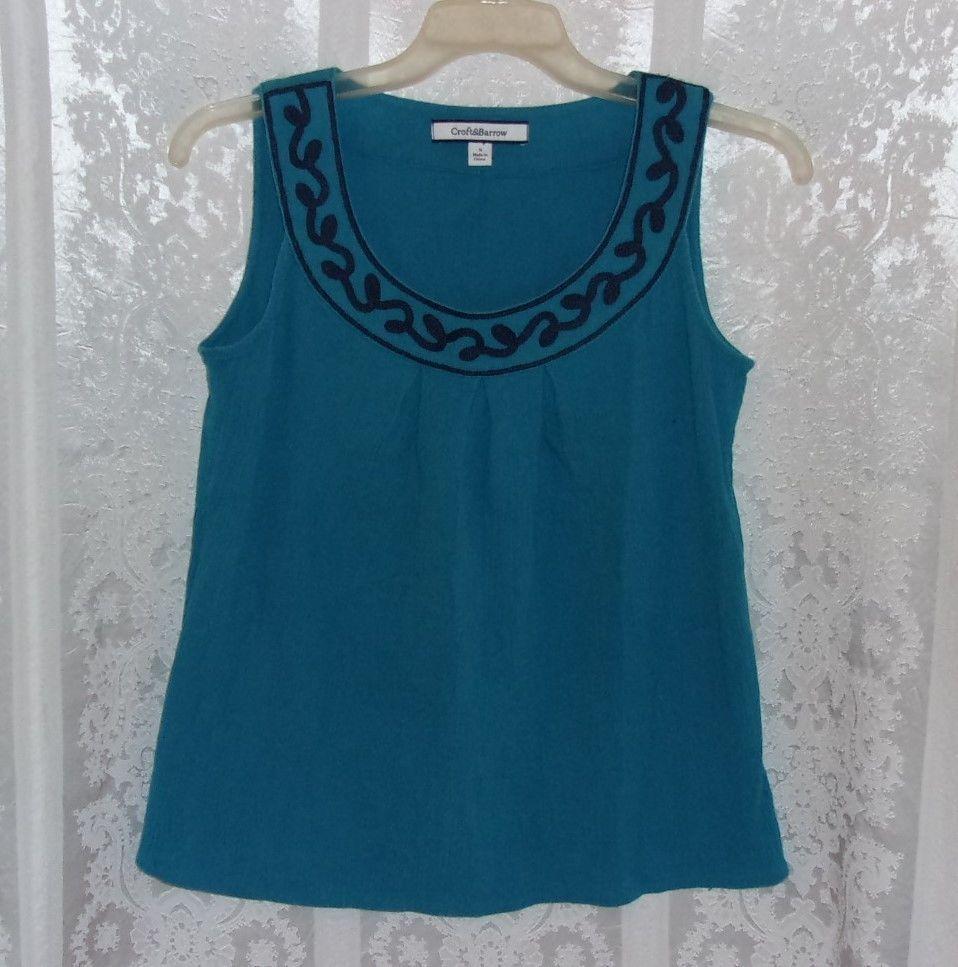Women Size S Croft & Barrow Sleeveless Top Blue #CroftBarrow #TankCami