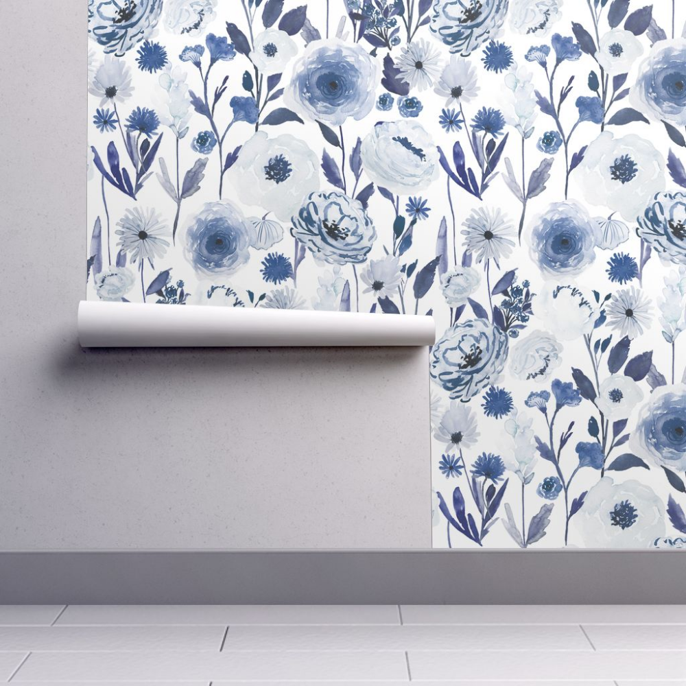 Colorful Fabrics Digitally Printed By Spoonflower Indy Bloom Design Indygo Garden B In 2021 Blue Floral Wallpaper Floral Wallpaper Wallpaper