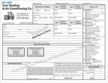 HVAC Invoice Forms and HVAC Maintenance Agreement Forms Electrical ...