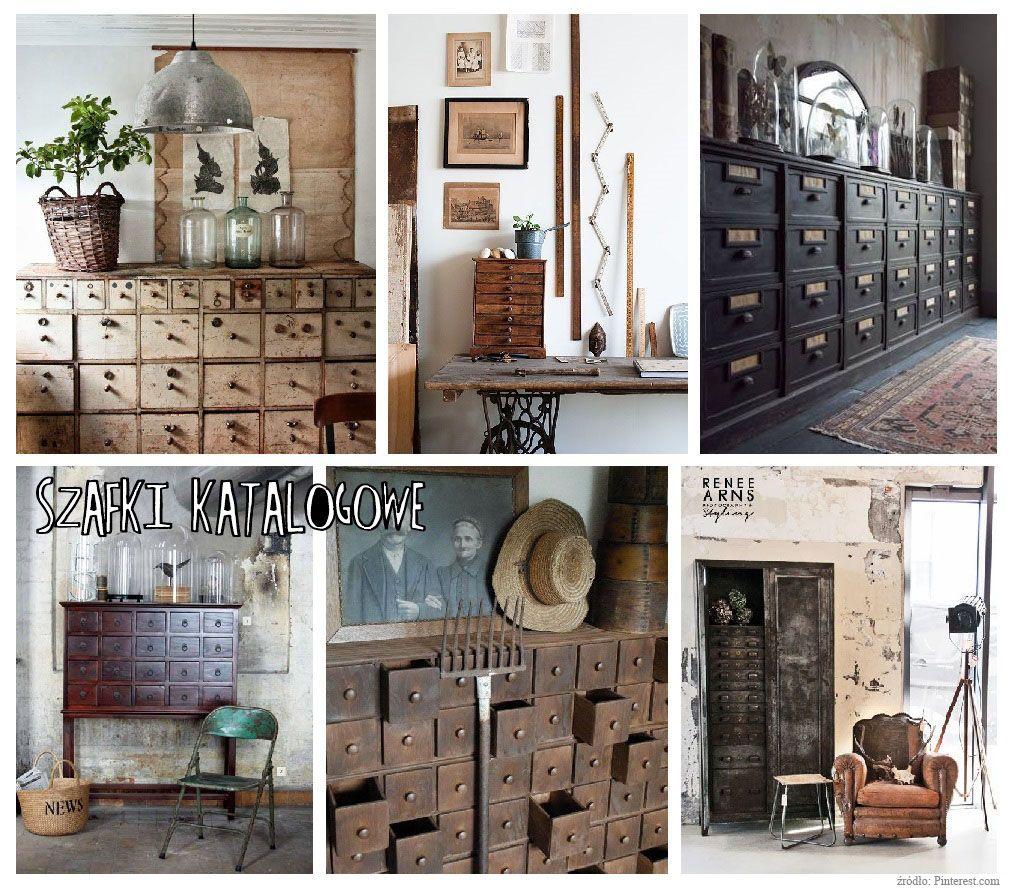 szafki katalogowe styl industrialny