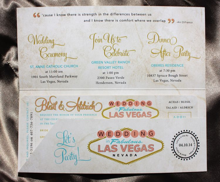 Las Vegas Antique Boarding Pass Wedding Invitations Cute Idea