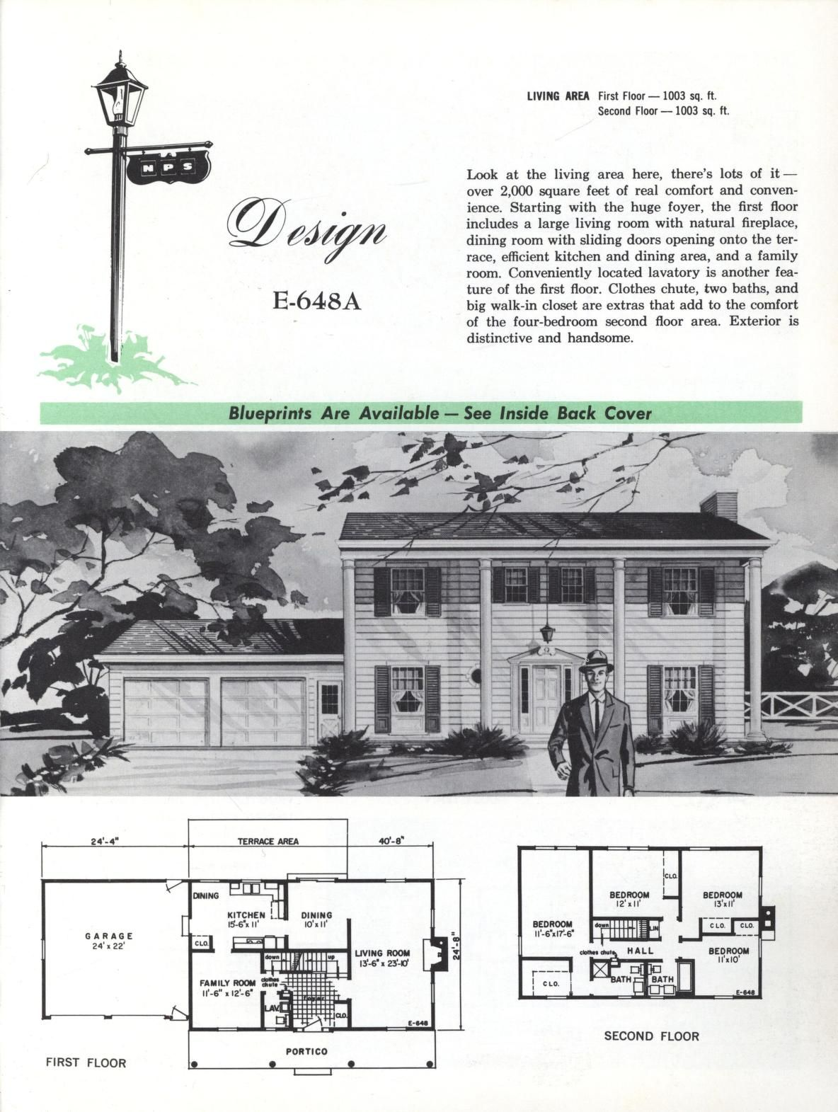Colonial homes 1963 vintage house plans 1960s for Antique colonial house plans