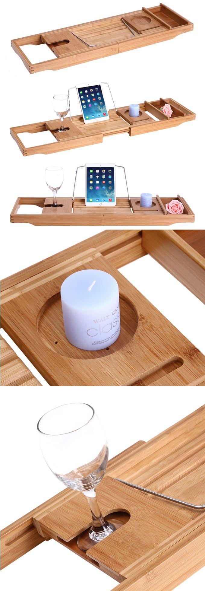 Bamboo Wooden Bathtub Caddy Tray Office Desk Stationery Organizer ...