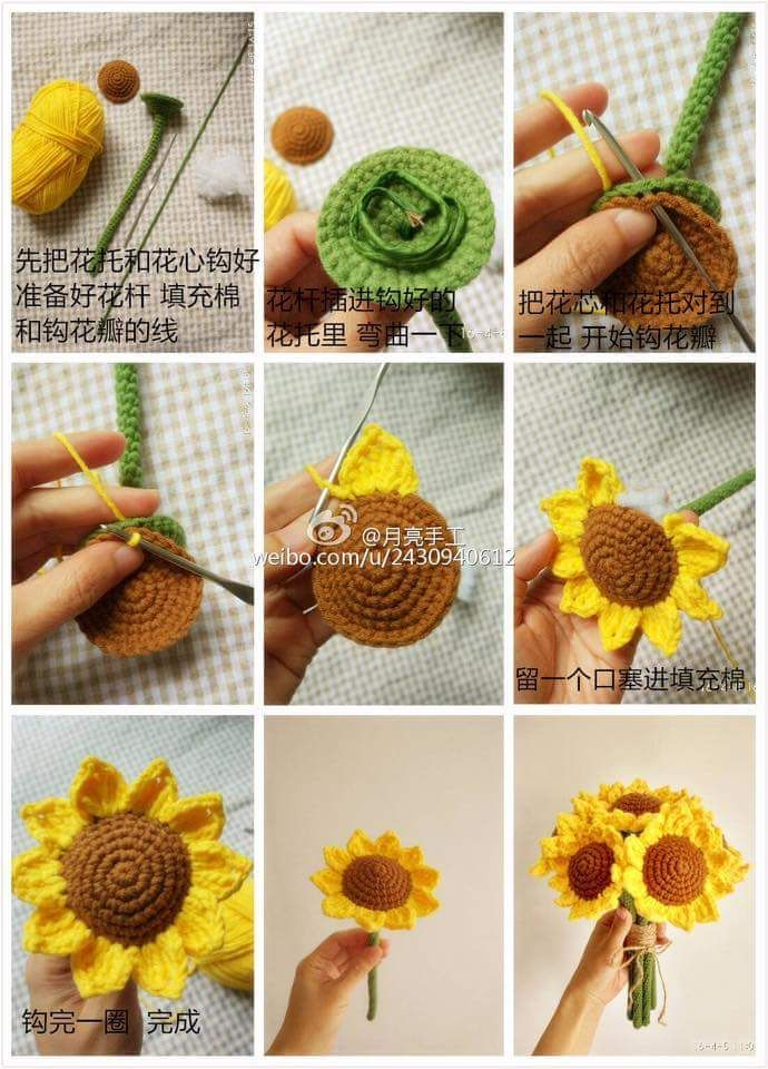 Crochet Sunflowers; free pictorial & diagrams. | crochet, dos agujas ...