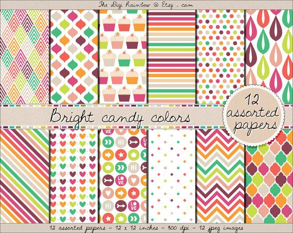 SALE gorgeous cupcake and candy themed printable digital #scrapbooking paper in various pretty colors like green, purple, pink, fuchsia, orange, red, etc...  #Scrapbooking #printable papers or #patterns for #crafts, #journaling, party organization and decor or any #DIY projects. NOW 60% OFF
