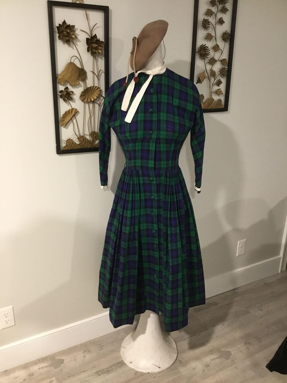 50 S 60 S Plaid Dress Blue And Green Plaid Cotton Dress Day Dress Teacher Dress Punk It Up Rockabilly Big Skir Plaid Dress Vintage Green Plaid Dress Punk Dress [ 3000 x 2250 Pixel ]
