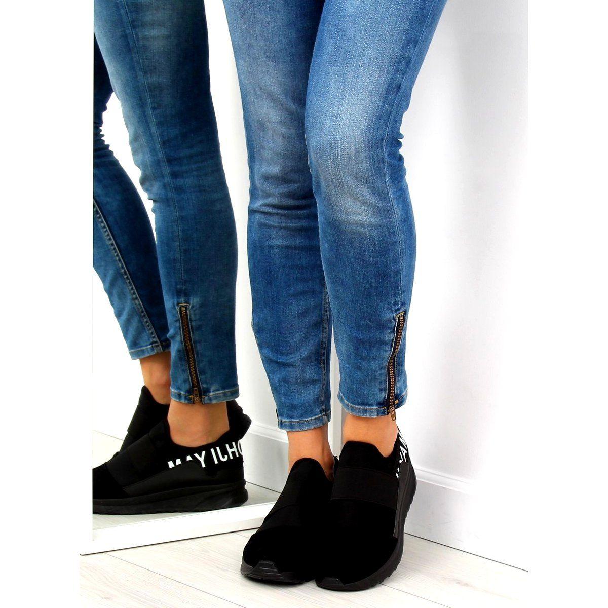 Buty Trekingowe Damskie Szare B1718 9 Grey High Top Sneakers Skinny Jeans Shoes