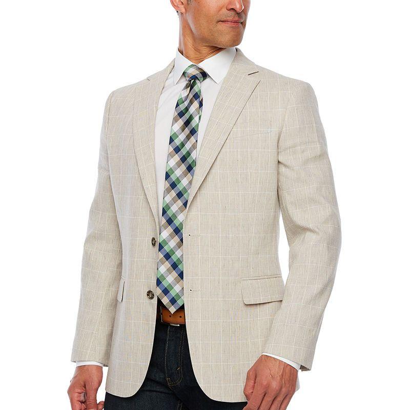 Tallia Orange Men/'s 100/% Wool Slim Fit Plaid Two Button Vested Suit Brick