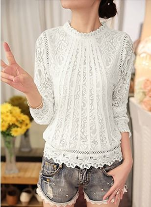 02705c8bd8 Solid Casual Lace Round Neckline Long Sleeve Blouses - Floryday @  floryday.com