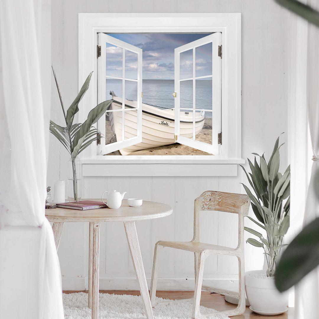 3d Wandtattoo Fenster Quadratisch Strandidyll Dieses Quadratische 3d Fenster Wandtattoo Zeigt Ein Boot Das An 3d Wandtattoo Aufkleber Fur Wande Wandtattoo