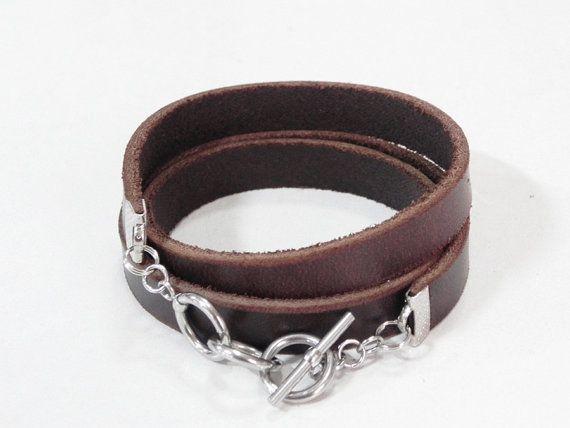 Abrigo marrón cuero cuero brazalete pulsera con cierre de palanca acero inoxidable