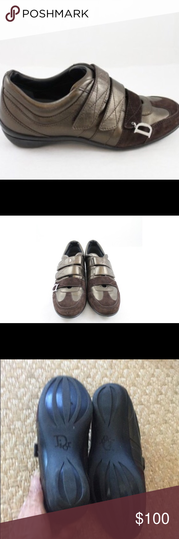 b7cf64e7e64b Dior 🌹price dropped Christian Dior velcro athletic shoes. Two tone brown  suede and bronze