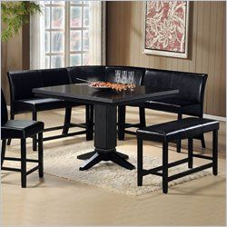 Breakfast Nook Dining Sets 1 237 00 Homelegance Papario 6 Pc Dining Set In B With Images Corner Bench Seating Bench Dining Room Table Counter Height Dining Table Set