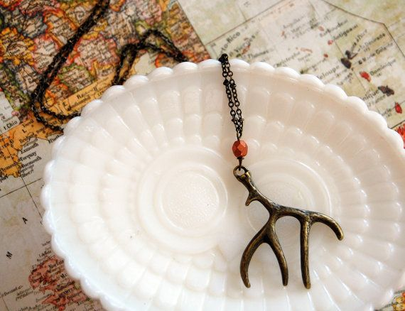 antler necklace- rustic autumn jewelry with copper colored bead on long chain- aged brass. $27.00, via Etsy.